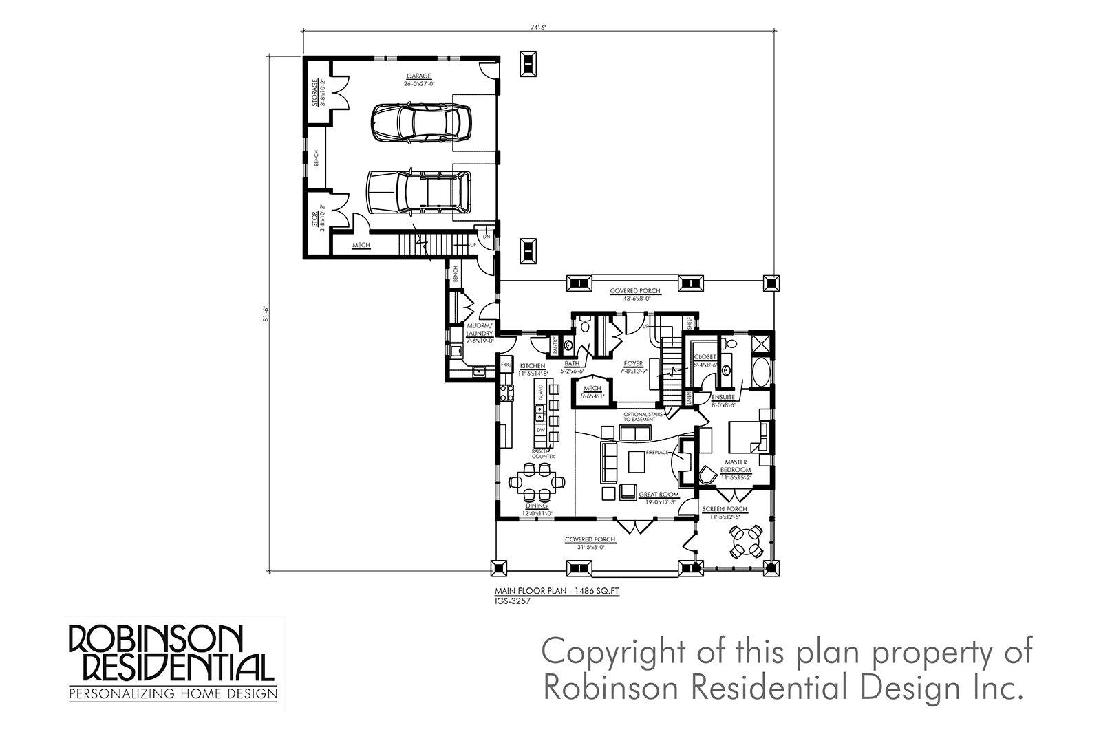Igs 3257   craftsman home plan   01 main floor plan